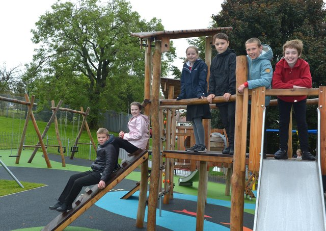 Young people in Banton are delighted with the new play equipment