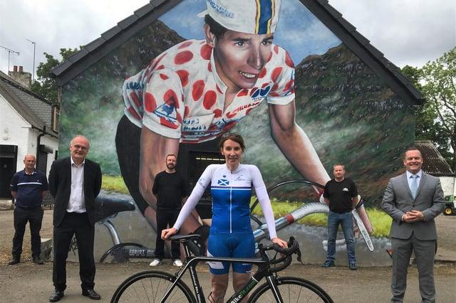Philippa York returns to Crow Road to help unveil the Robert Millar mural
