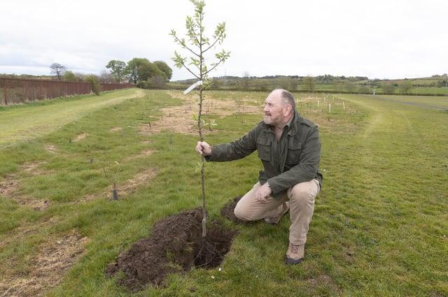 East Renfrewshire Council  leader Tony Buchanan helps with the planting in Barrhead's Cowan Park. Pic: Mark F Gibson / Gibson Digital